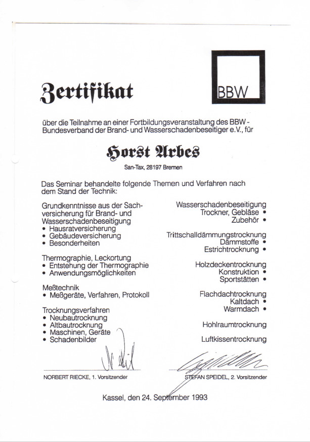 Zertifikat BBW