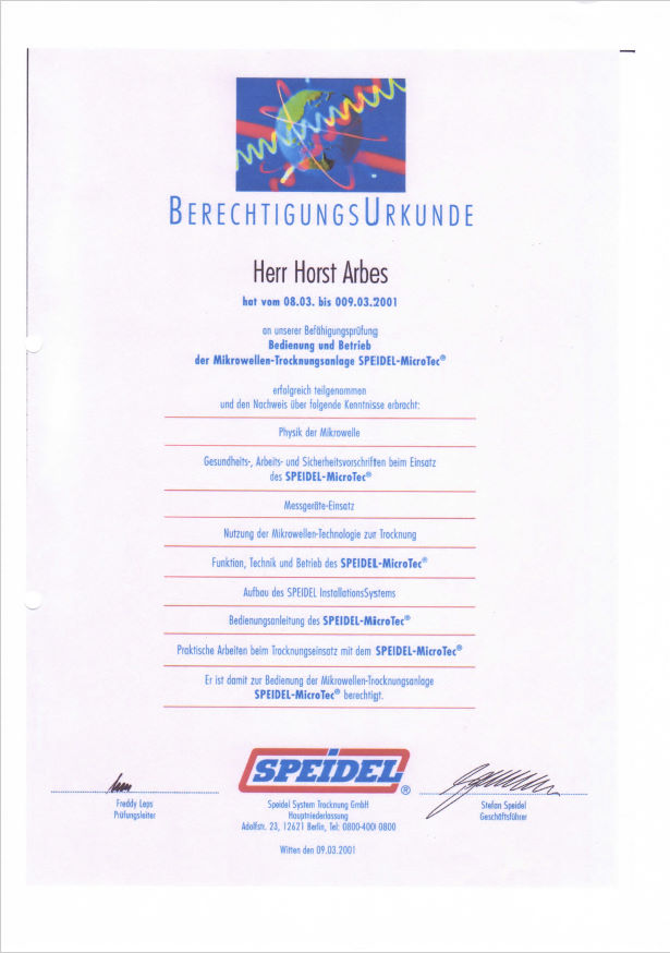 Zertifikat Speidel